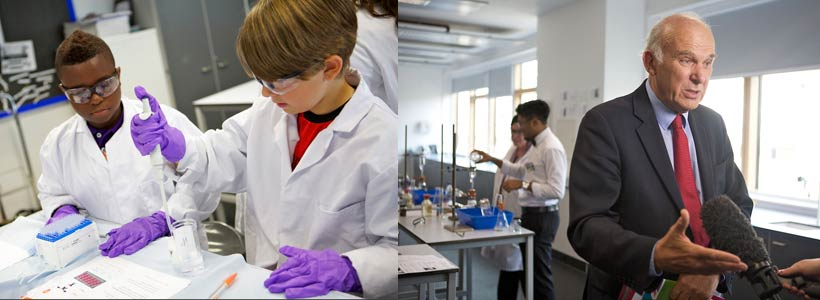 Image on the left:   Young scientists enjoy learning at the SPWT's Science Summer School   Image on the right   The Secretary of State for Business, Innovation and Skills, Rt Hon Dr Vince Cable MP, visited the 2014 Science Summer School.