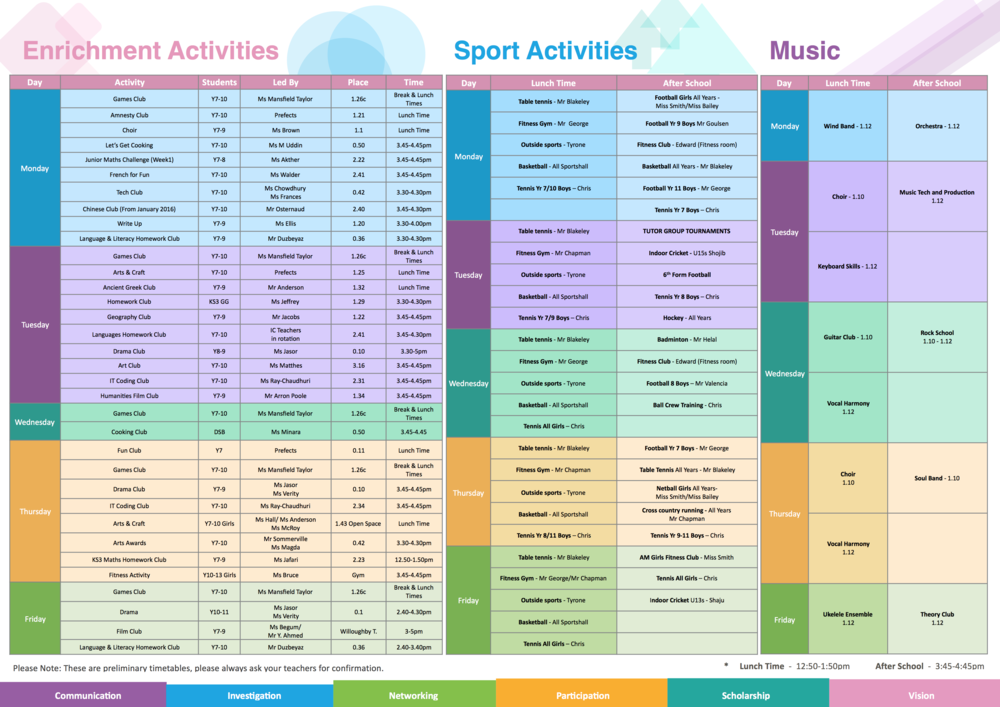 Activities List 2015/16 - Click to open and download the PDF file