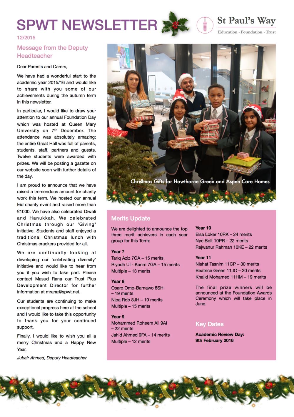 SPWT December Newsletter