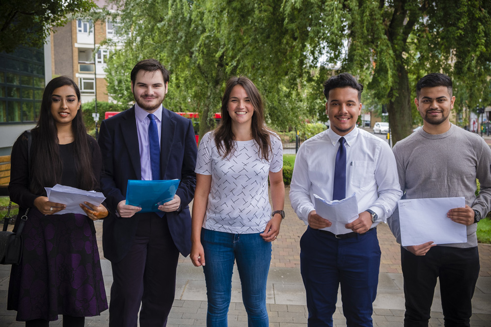 A level high achievers from left to right:   Nishat Tasnim (Biomedicine at QMUL), Máté Bencsik (French & German at Bristol), Ijaz Choudhury (Medicine at QMUL) and Sami Mohammed (Biomedicine at KCL)