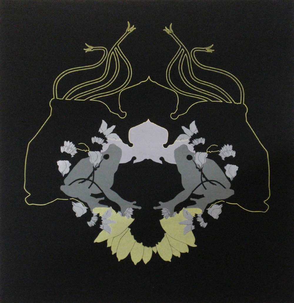 'Frogs' (2008) Silk screen print: pigment on cotton, stretched on wooden frame, 100cm x 100cm.