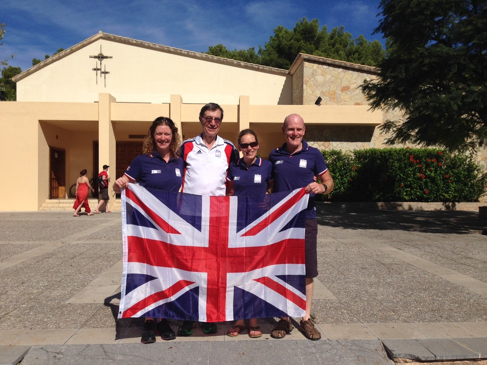 Knutsford Tri Club's GB representatives: Claire Hebblethwaite, Clive Reading, Helen Murray and Ron Skilling