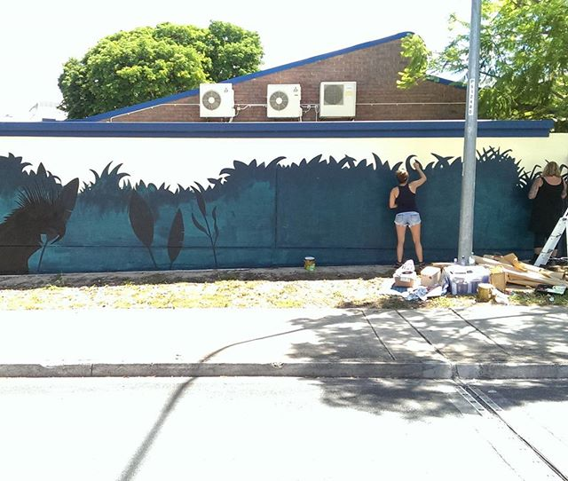 Starting a new #mural with @betni and @sarahjanebradleyart in #brisbane today.