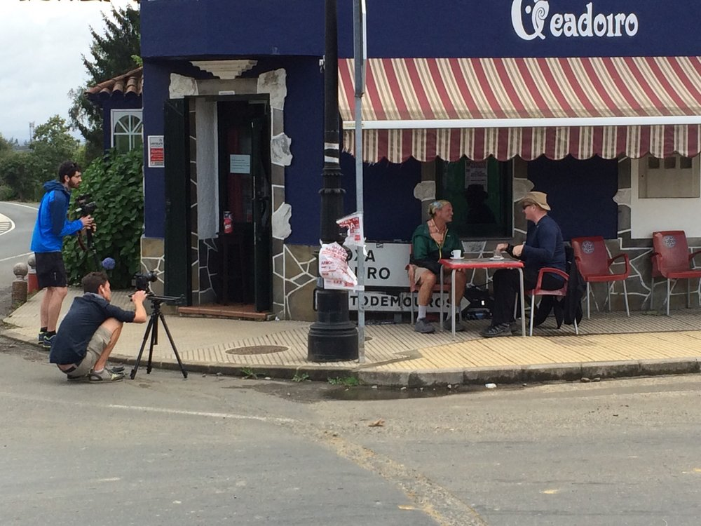 Kyle and Michael filming our project.  Jim McGrann and I talking at the cafe about No Barriers Life Elements and leadership.