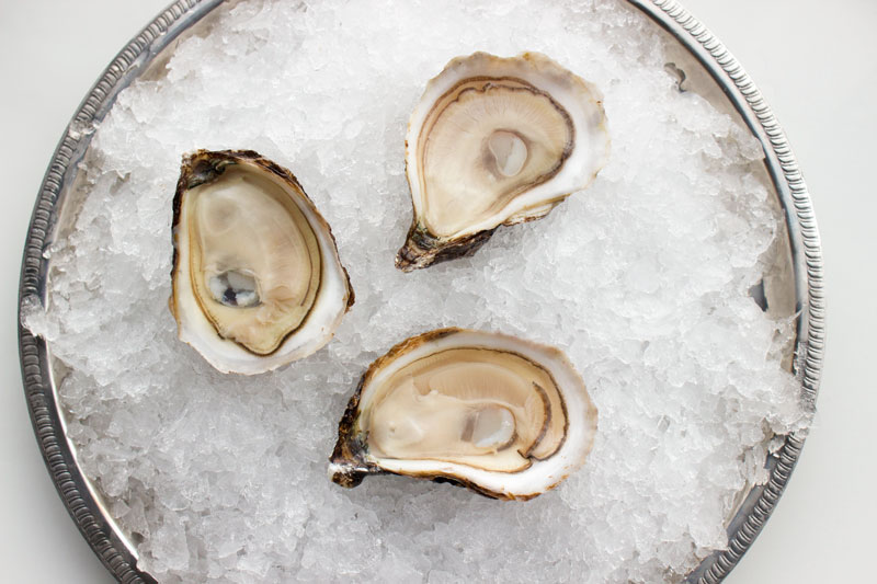 Daisy Bay Oysters from Prince Edward Island shucked on a half shell.