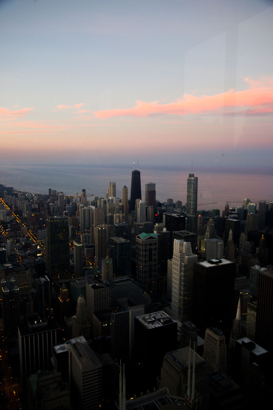 Chicago sunset from the Skydeck in the Willis Tower