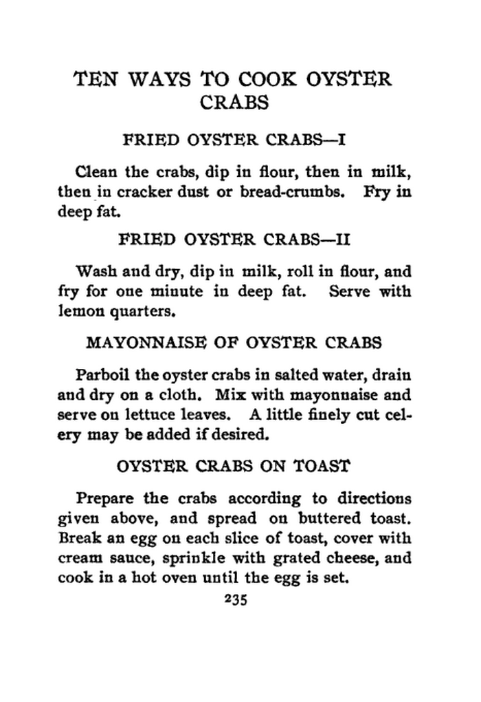 HOW TO COOK SHELL FISH, BY OLIVE GREEN, P. 235
