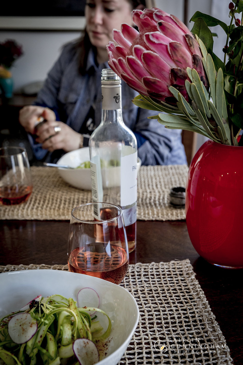 the salad pairs well with a bold rose