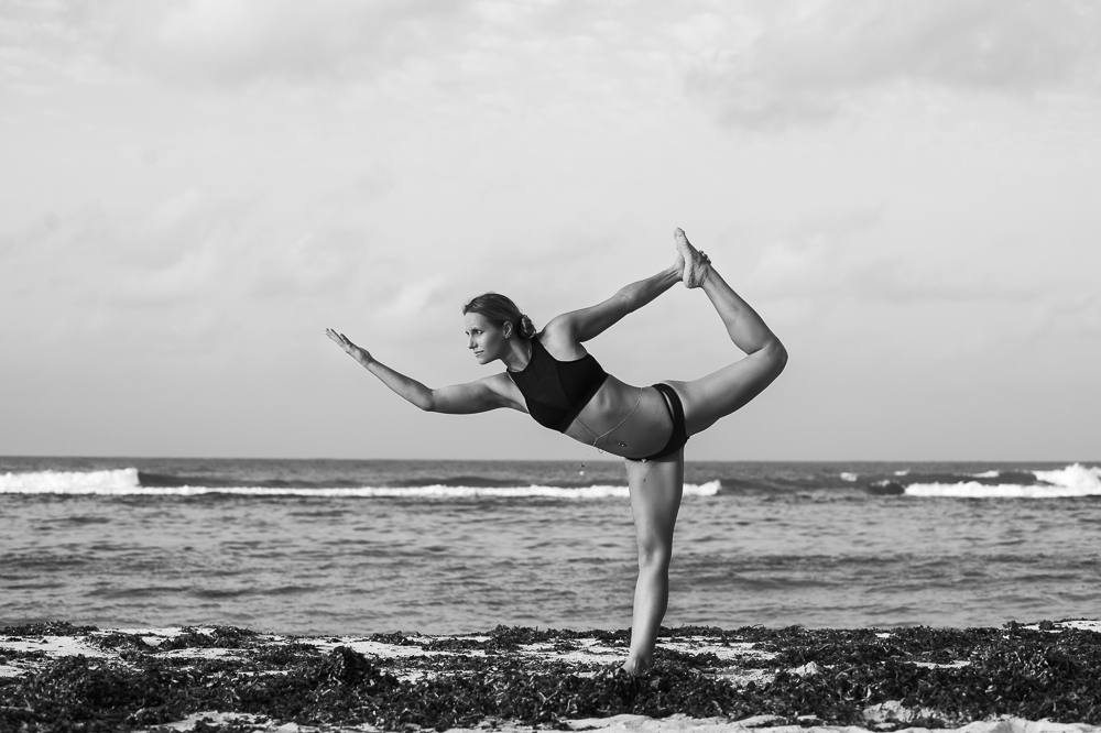Dancer pose on Spotts beach # Cayman yoga photography