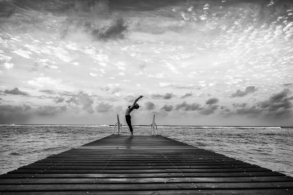 Backbend on the dock at dawn # yoga