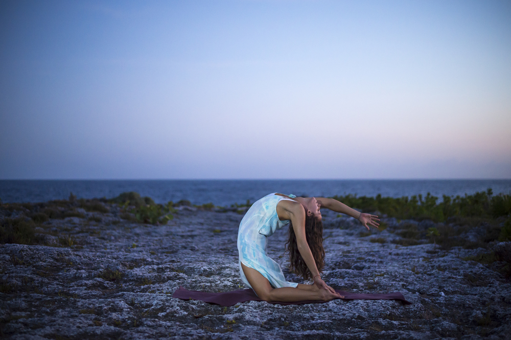 Beautiful camel pose at dusk #Yoga