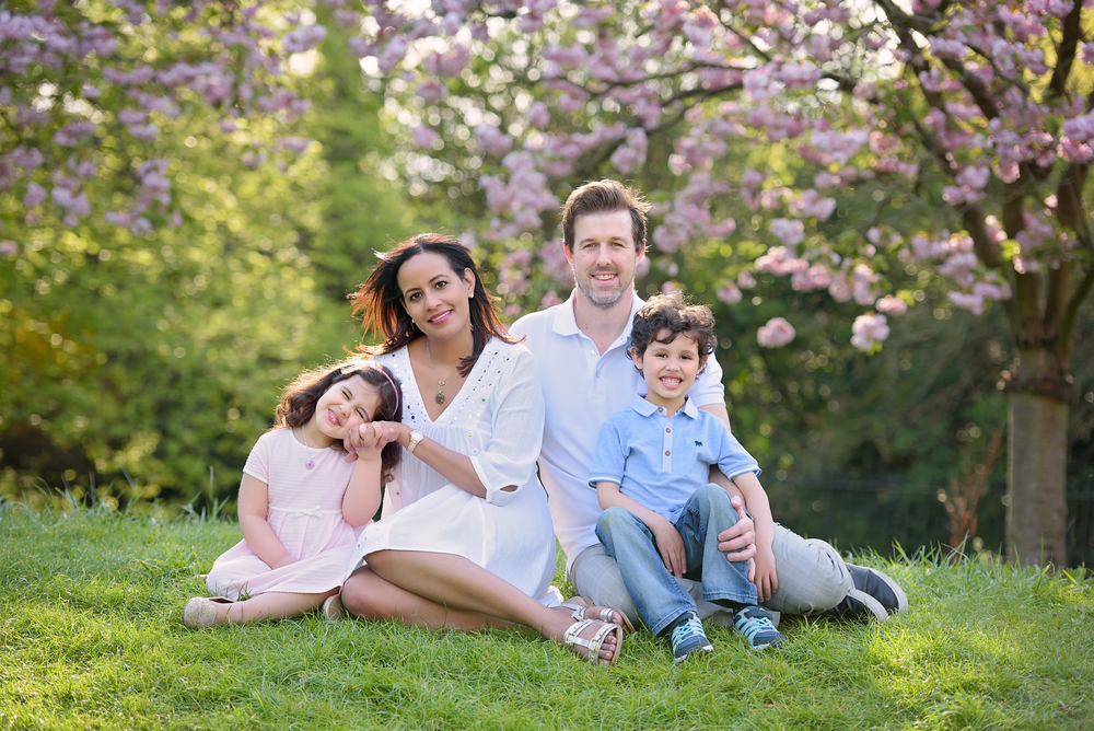Family photos in cherry blossoms
