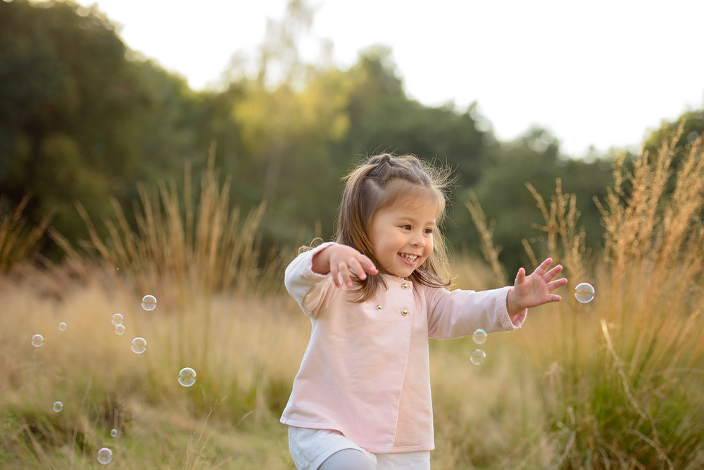Children's portraits with bubbles