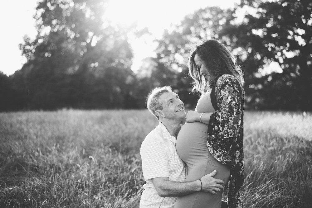 Backlit maternity portraits at sunset London