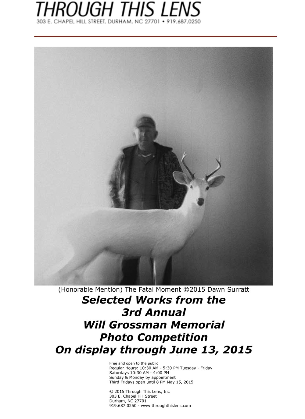 Honored to be a part of this exhibition at the Through This Lens Gallery, Durham, NC.
