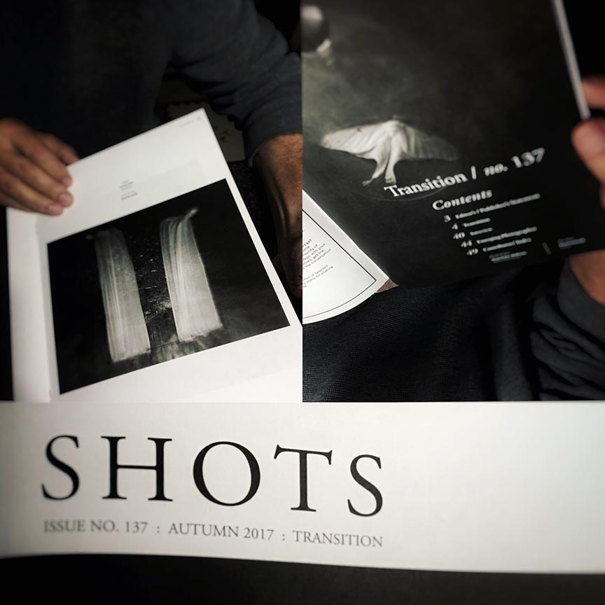Douglas Beasley's work has inspired me for many years, so I was excited to hear that he took over the helm at Shots magazine. The first issue with Douglas and his new team's efforts arrived in the mail yesterday and I am beyond thrilled to be a part of it.