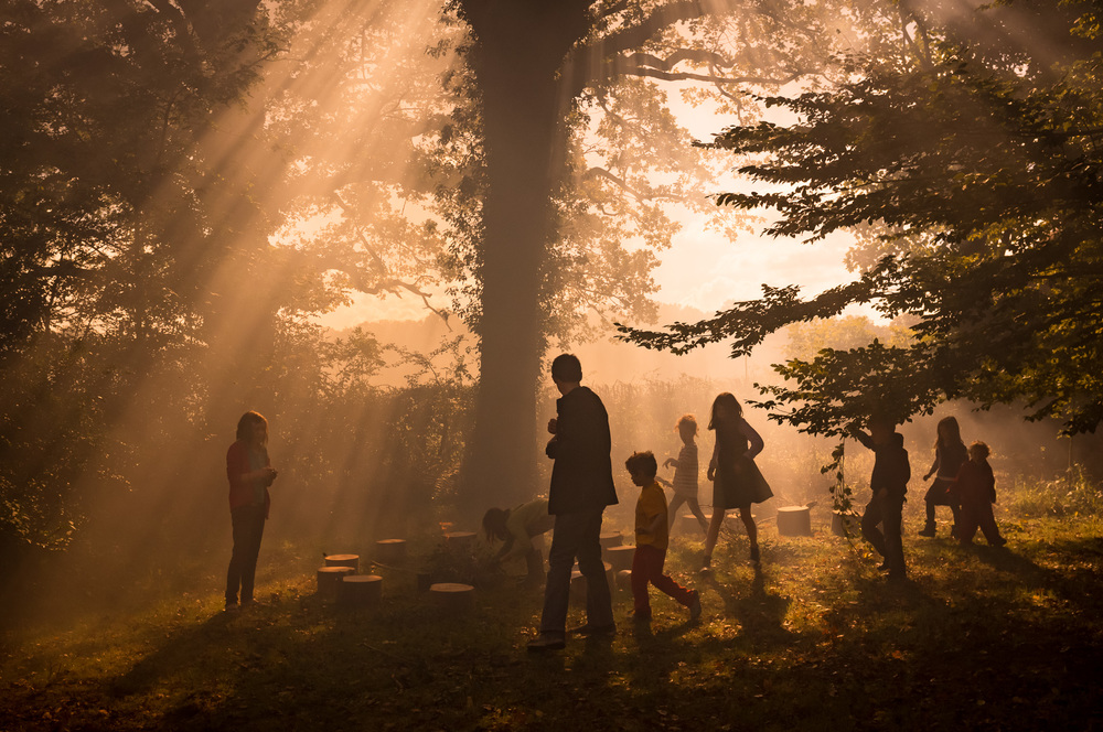 Children playing in misty woodland. Personal project