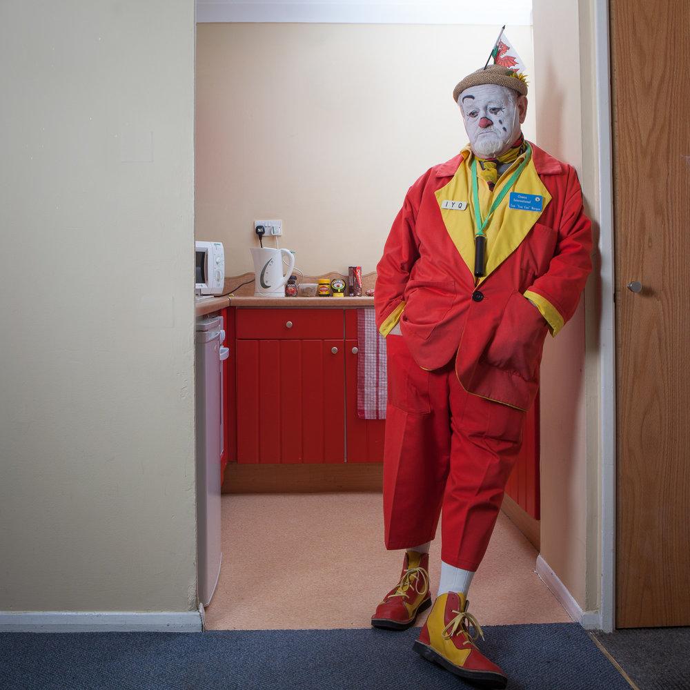 "Tom ""Tom Fun"" Morgan at The International Clown Festival. For  Diabetes UK"