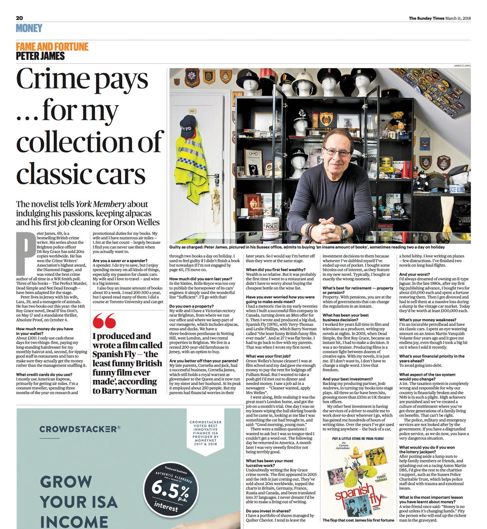 Author Peter James for  The Sunday Times