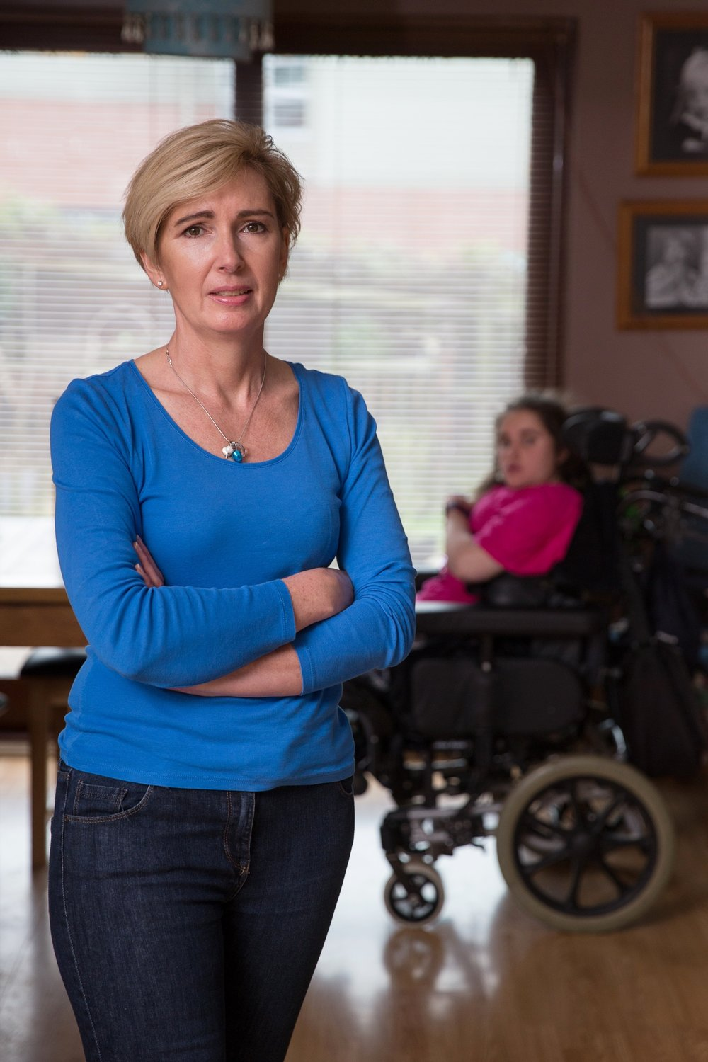 Becky Jenner and her daughter Rosie who has Retts Syndrome and needs 24 hour care. For Candis Magazine.