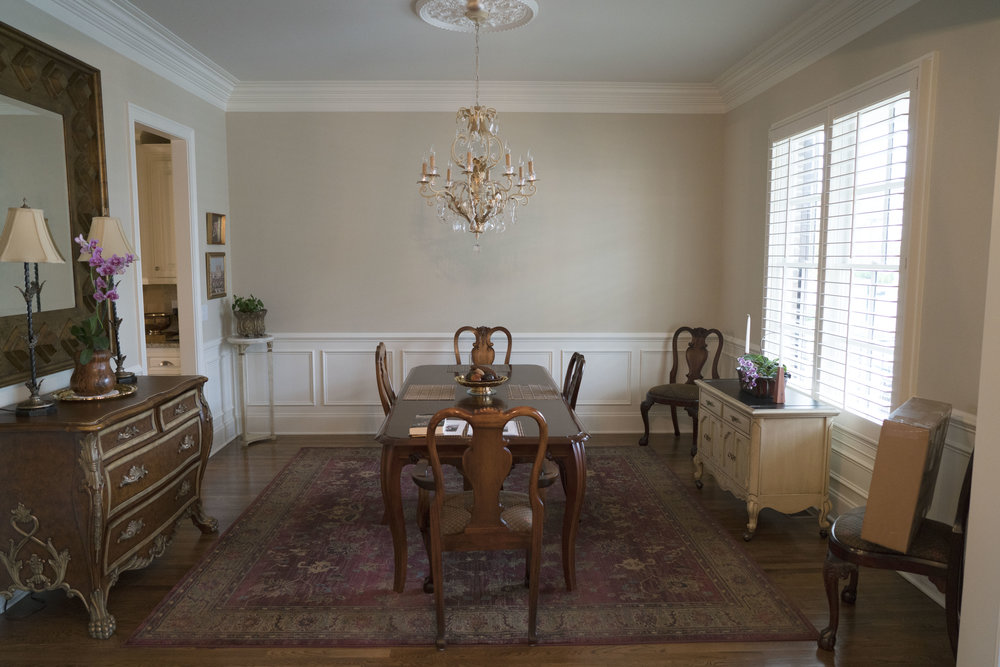 This is the room we have selected for the shoot. It is the first room on the right when you enter the General's home. The ceiling is high enough and the room wide enough to accommodate our green screen. We would block the window, raise the chandelier higher and block the ambient light from the opening to the left.