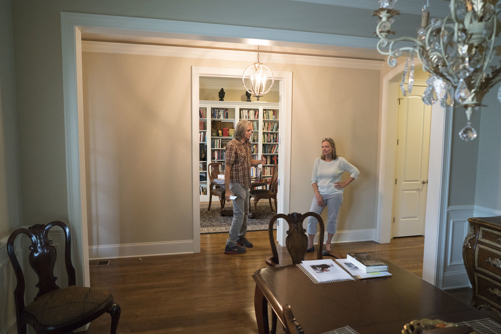 This is the reverse angle to the shoot room. The opening into the General's library provides the depth we will need for camera placement. This location also allows for minimal interference in the home. The library can also be used for monitoring.