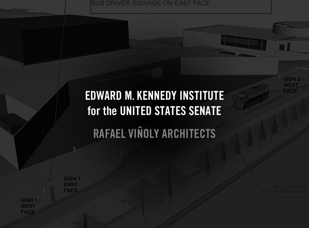 The EMKI for United States Senate—an educational museum designed by Rafael Viñoly Architects that is directly adjacent to I.M. Pei's JFK Presidential Library and Museum—needed to have a similar signage vocabulary to its previously constructed neighbor.   With ESI Design.