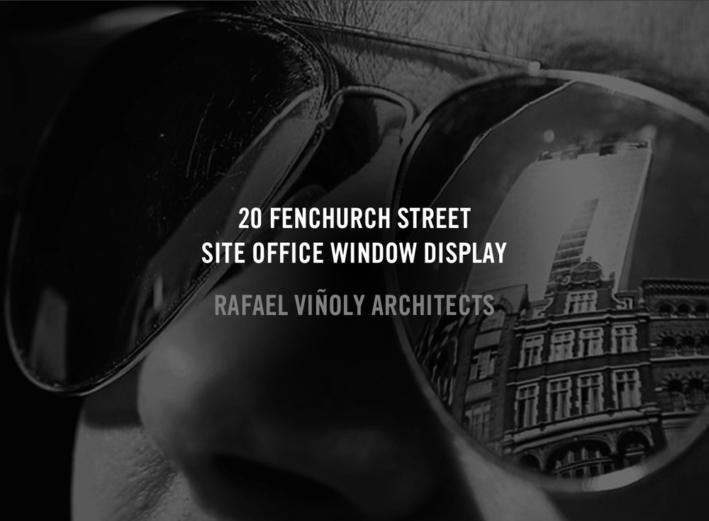 Rafael Viñoly Architects' site office for 20 Fenchurch Street was made to exhibit not only renderings and models of the skyscraper as it progressed, but also conceptual drawings and a list of partners in the construction effort. A combination of white board silhouetted cut-outs, a physical model, LED displays and vinyl graphics created a veritable shadow box in which to gaze and discover.