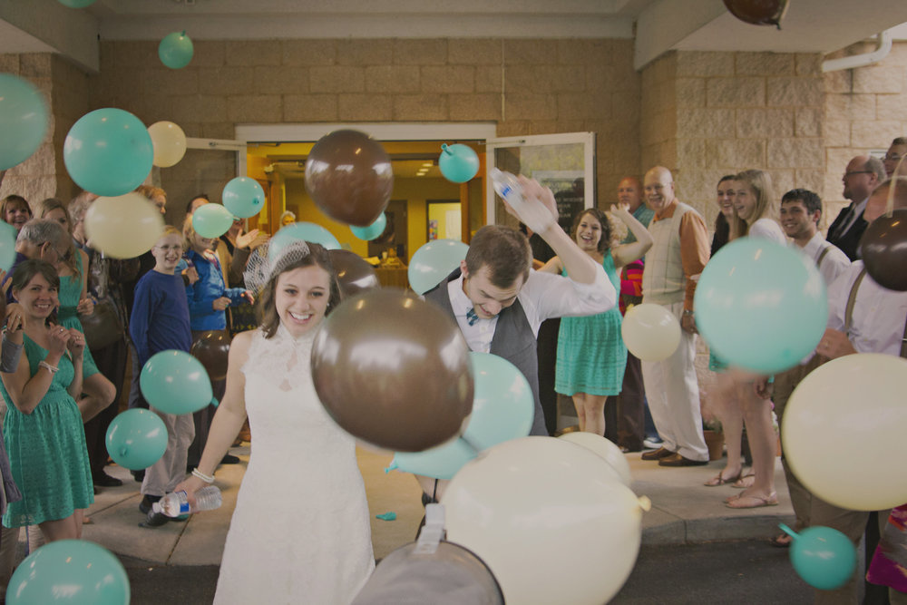 Let balloons fly around you for your big exit from the reception!