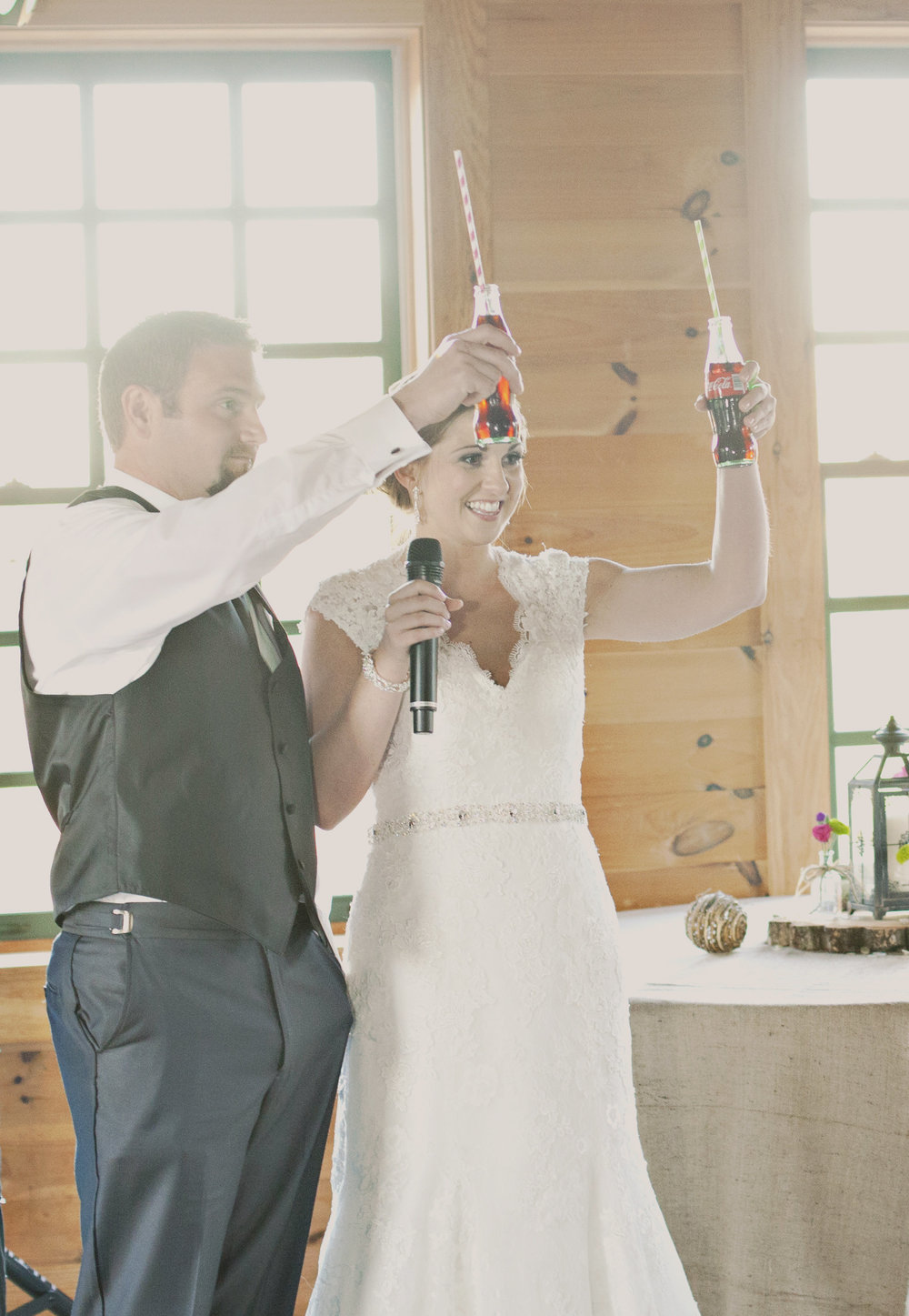 Toast glass bottles of coke instead of champagne for a more casual reception