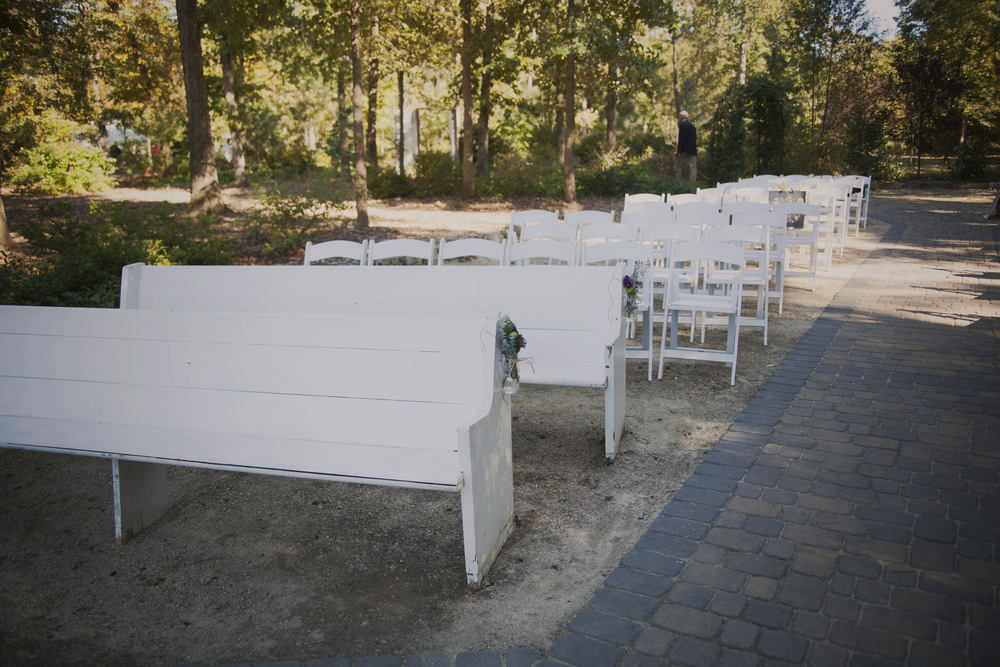 Use benches for seating during your outdoor ceremony