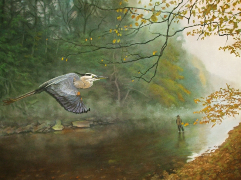 "Fall Fishers on Greater Neshannock Creek;, pastel, 24""X35"""