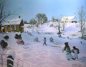"Recess at First Snow -  Signed & Numbered Limited Edition Print   Size 14"" x 18"" (Edition size: 950)  Price:  $75"