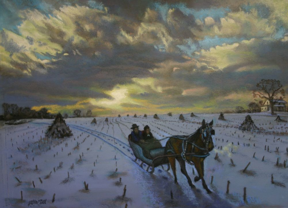 Oer the Fields, pastel on board, 20X26