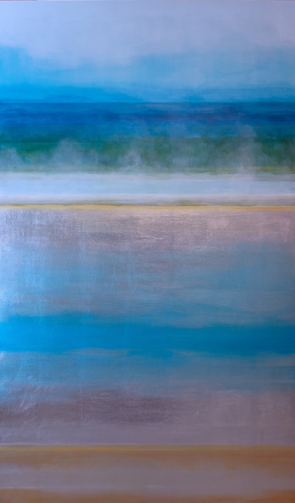"Spectral Phase #8, 2013, acrylic + alum-silver on canvas, 60""x36"""