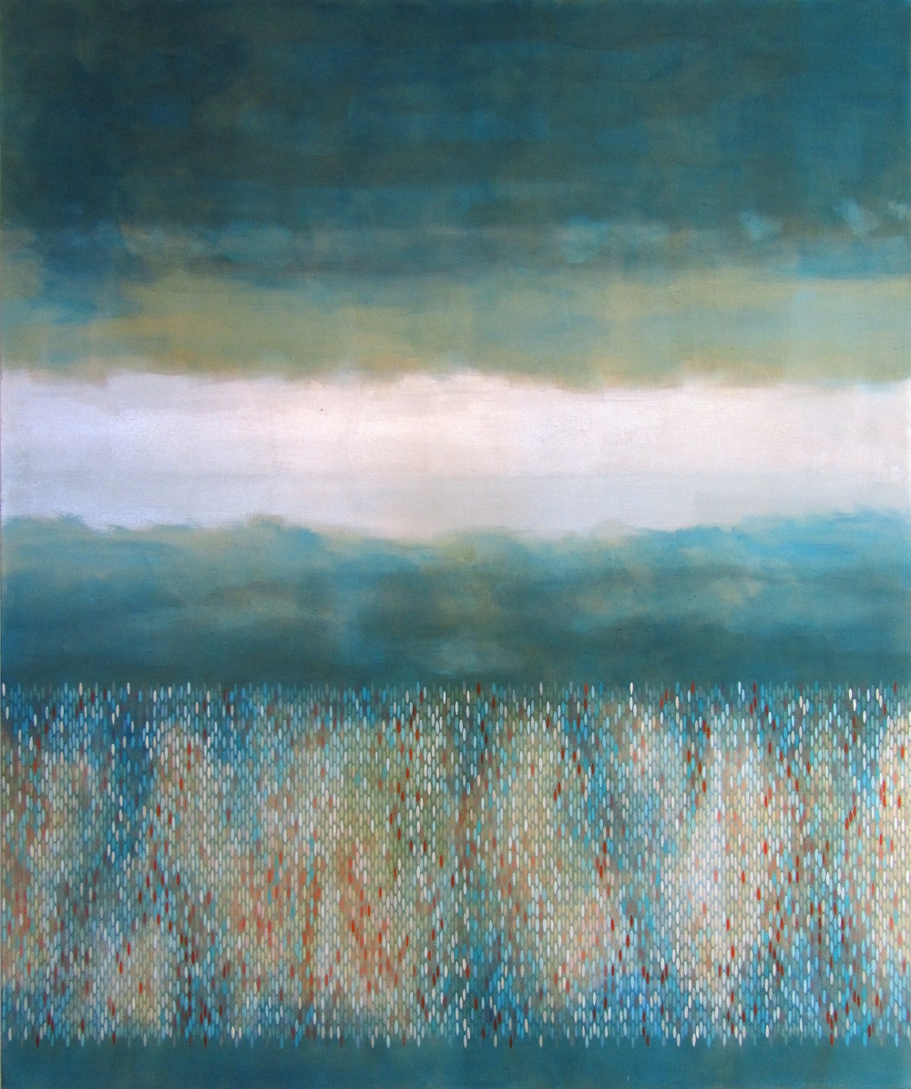 "Afloat (Teal/Pyrrole), 2012, acrylic + alum-silver on canvas, 72""x60"""