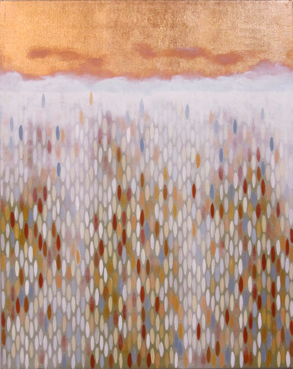 "Wake, 2011, acrylic + copper on canvas, 20""x16"""