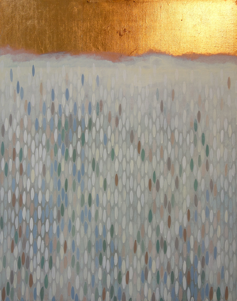 "Cove, 2012, acrylic + copper on canvas, 20""x""16"