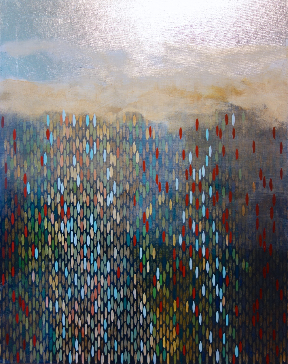 "Ashore, 2011, acrylic + alum-silver on canvas, 28""x22"""