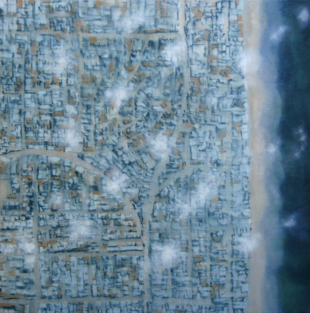 "Peering Down, 2008, oil + alum-silver on canvas, 36""x36"""