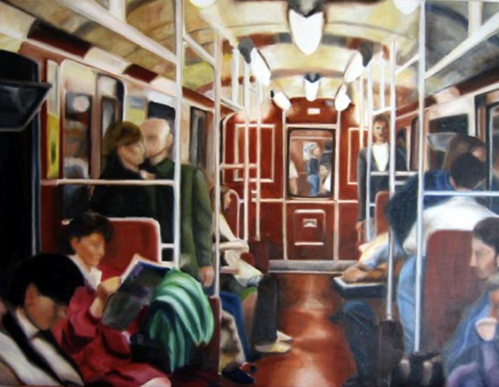 "Inside U-Bahn, 2000, oil on canvas, 38""x50"" (97x128cm)"