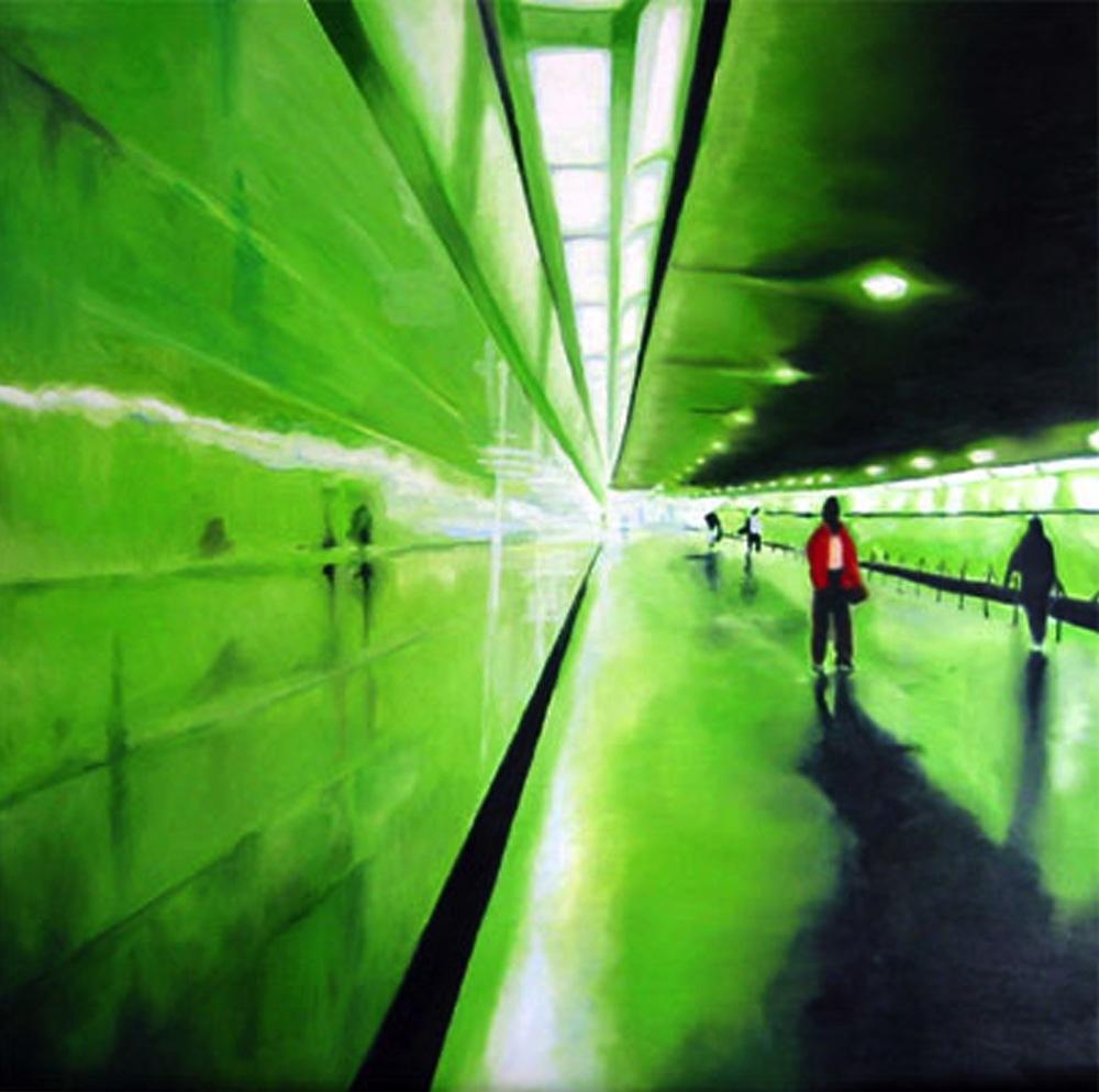 "U-BahnTunnel, 2000, oil on canvas, 40""x40"" (≈102x102cm"