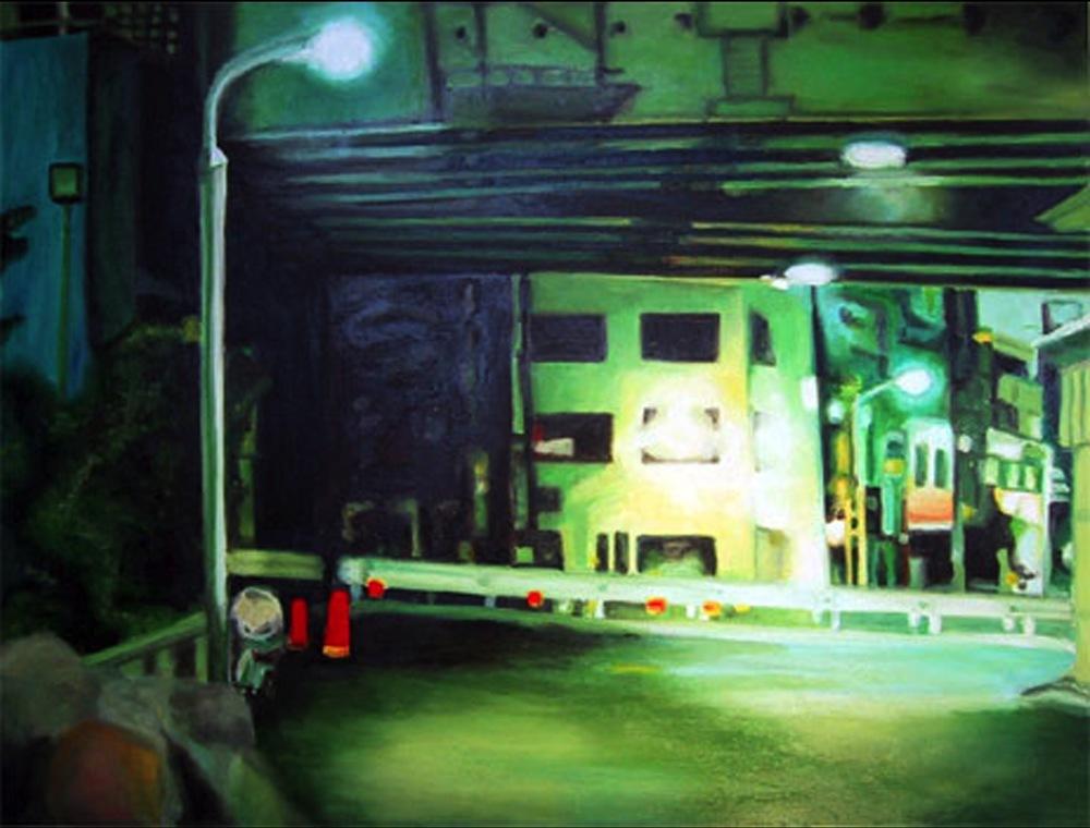 "Bridge, 2001, oil on canvas, 24""x31"" (60x80cm)"