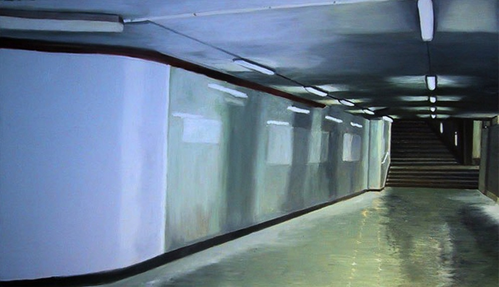 "U-Bahnhof Postsdammer Platz, 2001, oil on canvas, 27""x47""cm (70x120cm)"