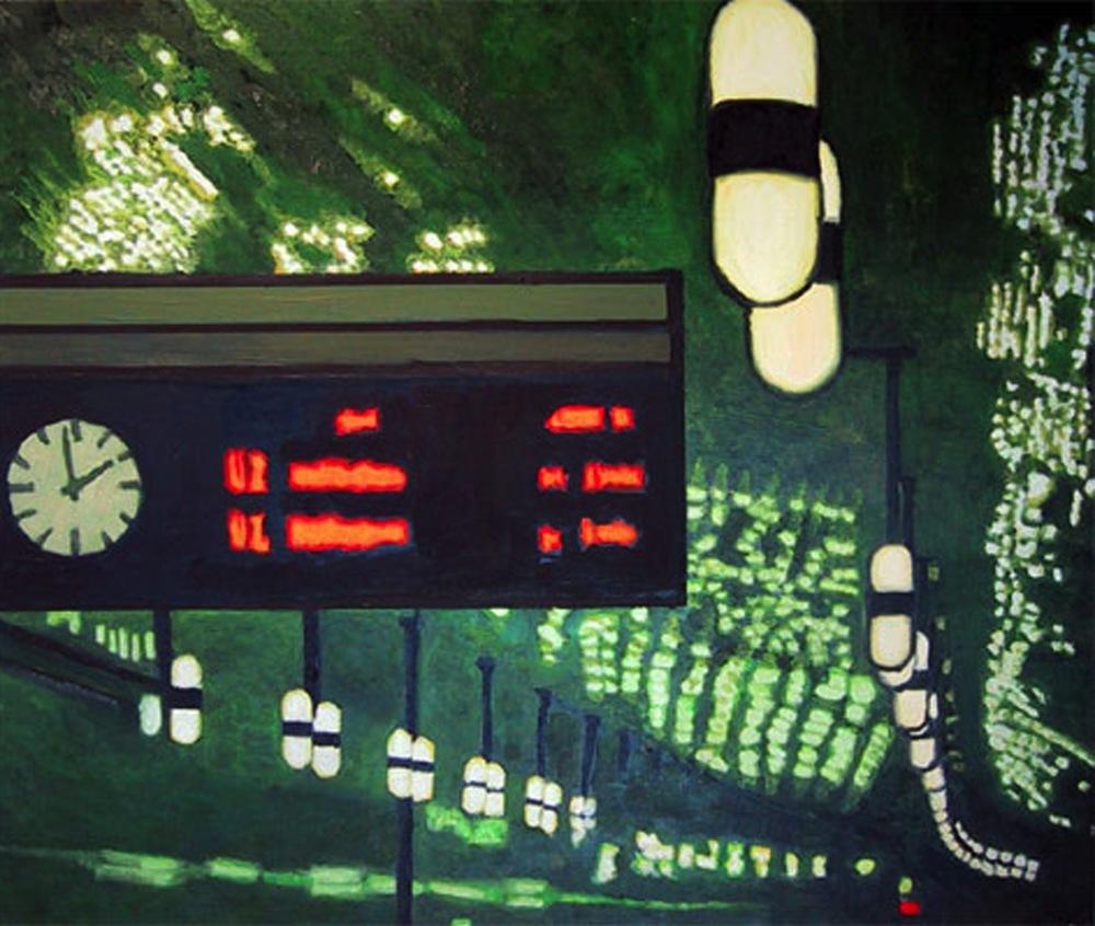 """U-Bahnhof Märkisches Museum, 2001, oil on canvas, 20""""x24"""" (50x60cm)"""
