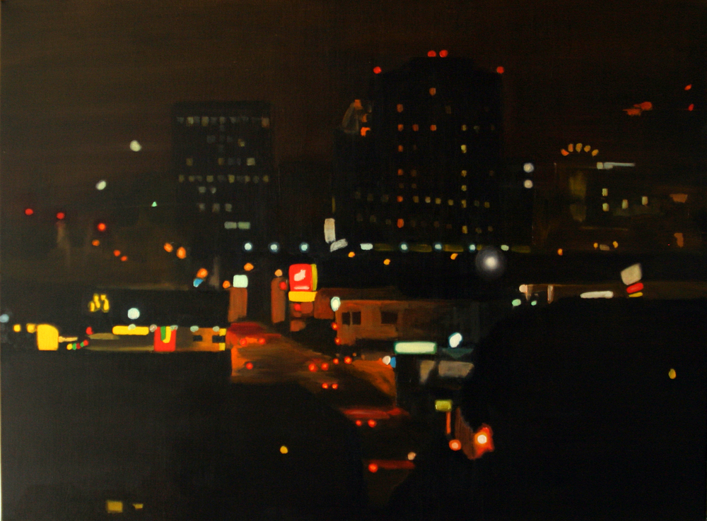 "Sunset and Hollywood, 2005, oil on canvas, 36""x48"" (≈91x122cm)"