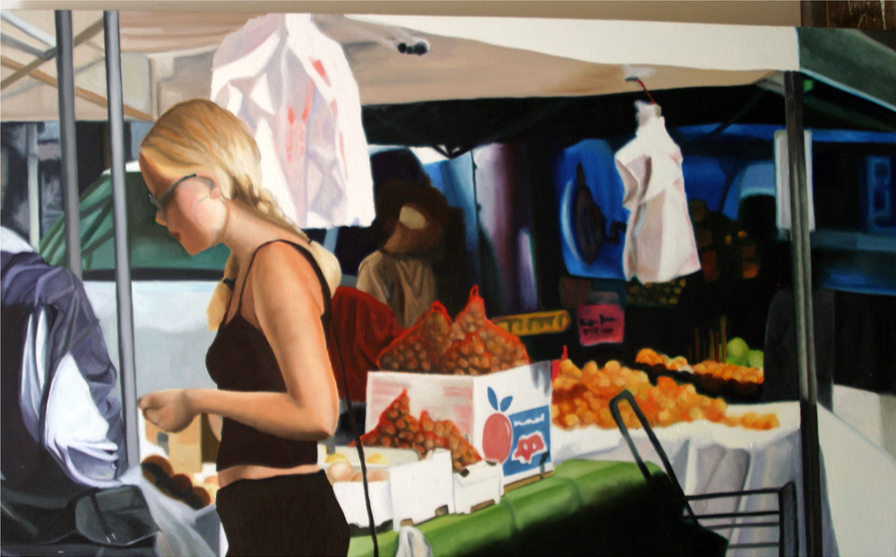 "Market, 2004, oil on canvas, 36""x72"" (≈91x183cm)"