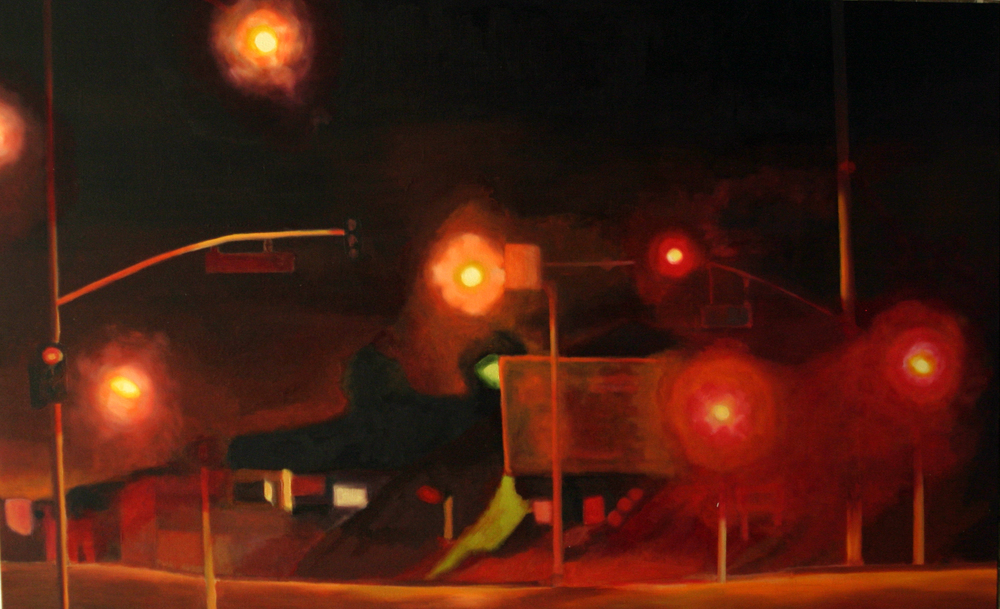 "Sunset, 2005, oil on canvas, 30""x48"" (≈76x122cm)"