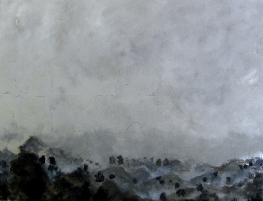 "Silver-Lake, 2005, oil + alum-silver on canvas, 31""x40"" (≈78x102cm)"