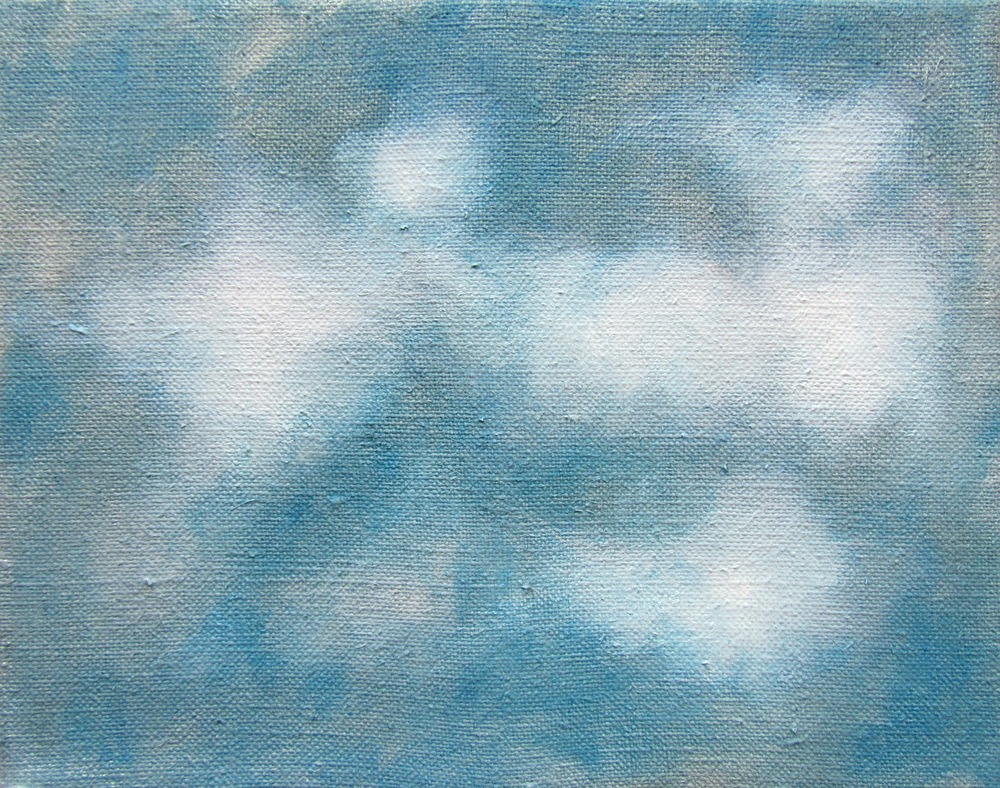 "Cloud Study Blue, 2006, oil + alum-silver on canvas, 8""x10"" (≈20x25cm)"